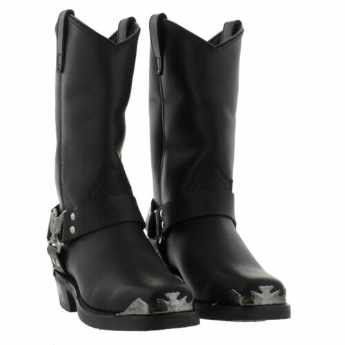 New Quality Black Cowboy Boots Western Grinders Eagle Biker High Leather zBAPAwndqx