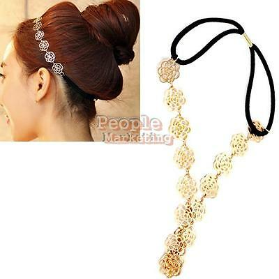 P4PM Lovely Cute Sweet Exquisite Carve Flower Hair Band Headband Necklace