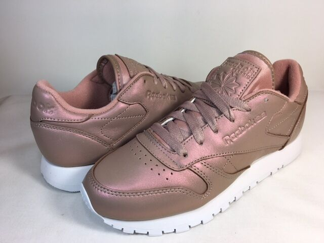 WOMENS REEBOK CLASSIC LEATHER PEARLIZED pink gold White BD4308