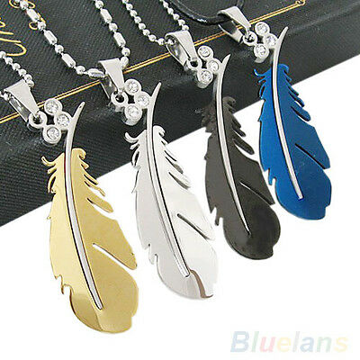 New Design Stainless Steel Silver Green Black Feather Chain Pendant Necklace