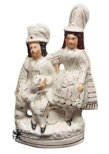 Staffordshire-Antique-Flatback-Figurine-Lady-Man-amp-Dog-Scottish-Couple-Wedding