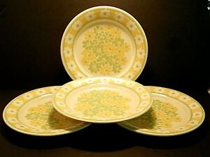 Franciscan-Picnic-Dinner-Plates-Earthenware-Yellow-Green-White-Flowers-Lot-of-4