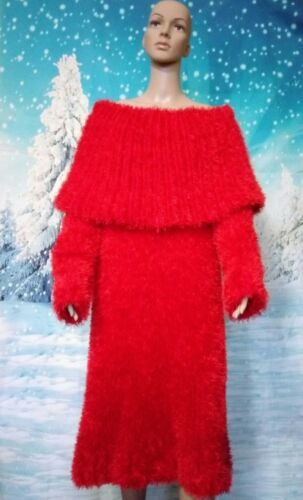 Mohair pince rouge pull collier Robe moelleux oversize Decofur qXxF7ZP