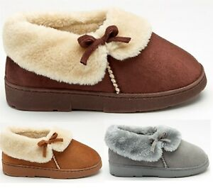 MENS COMFY WINTER WARM INDOOR FAUX SUEDE FUR LINED BED SHOES SLIPPERS BOOTIES SZ