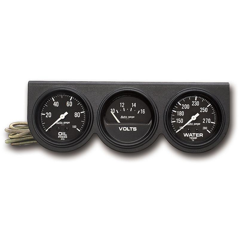 Volts Auto Meter Gauge Set 2398; Auto Gage Water Temp Oil Pressure Black