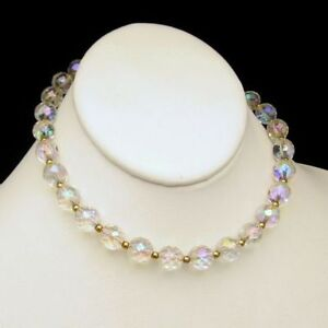 Vintage-Extra-Large-AB-Crystal-Beads-Choker-Necklace-on-Chain-Adjusts
