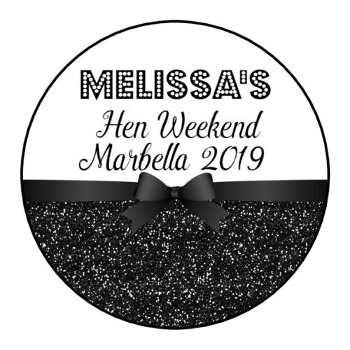 Personalised GLOSS Black Glitter Hen Do Party Night Weekend Bag Stickers Labels