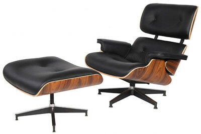 Eames Lounge Stoel Replica.Premium Eames Lounge Chair Ottoman Replica Real Leather Black