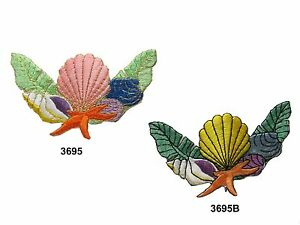 3695-Sea-Grass-Clams-Starfish-Conch-Embroidery-Iron-On-Applique-Patch