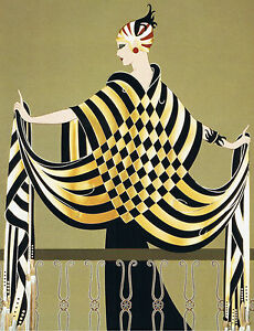 ART-DECO-034-Lady-on-balcony-034-by-ERTE-Printed-on-A-3-size-Photo-paper