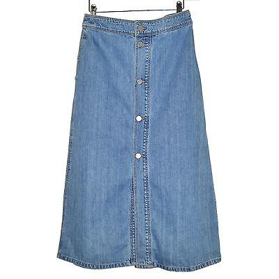 Set Jupe Longue Denim Maxi Skirt Jeans Boutons 36d Light Blue 38fr Washed Cotton