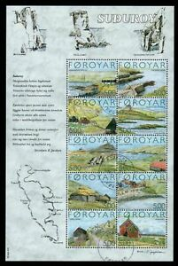 Faroe-Islands-Scott-441-2004-Suduroy-Island-stamp-sheet-used