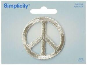 Wrights-Iron-On-Appliques-Silver-Metallic-Peace-2-034-1-Pkg
