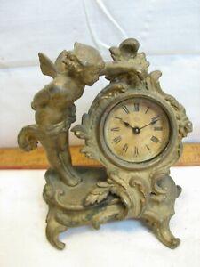 Antique Ansonia Brass Tone Victorian Shelf Mantle Clock Ornate Cherub Garniture