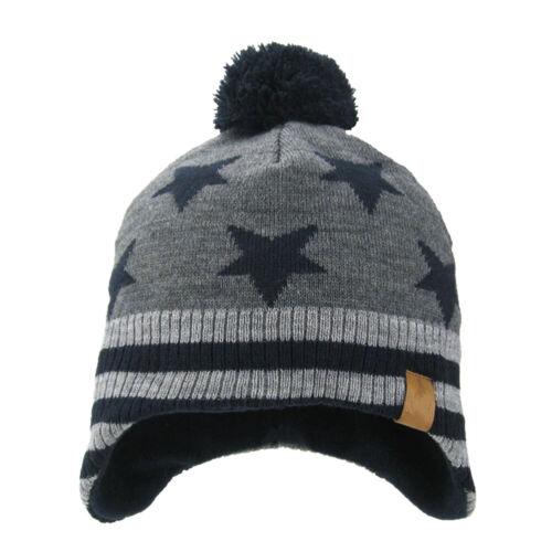 Baby Girl Boy Knitted Crochet Hat Winter Warm Fleece Lined Earflap Outdoor Cap