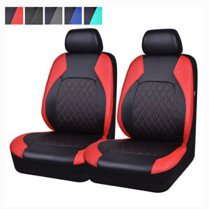 Universal-2-Front-Car-Seat-Covers-PU-Leather-Red-Black-Airbag-For-Toyota-Honda