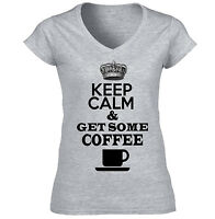KEEP CALM AND GET SOME COFFEE - AMAZING GRAPHIC GREY T-SHIRT - S-M-L-XL-XXL