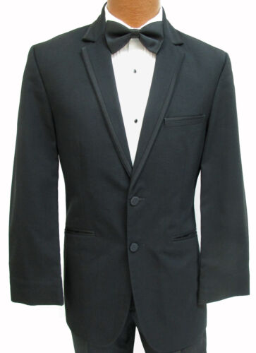 "Mens High Quality Black /""Connery/"" Two Button Notch Lapel Tuxedo Suit Jacket"