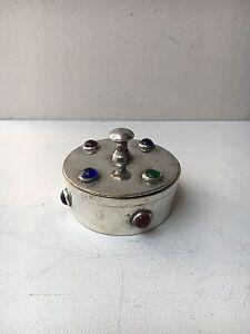 Vintage-White-Metal-Arts-amp-Crafts-Style-Trinket-Box