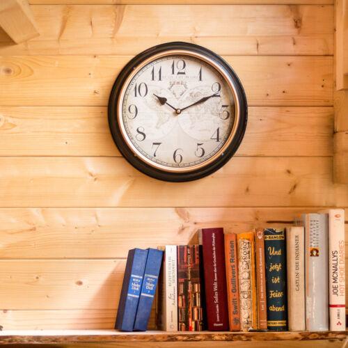 wie antik Wanduhr im Vintagelook Jahrhunderts Uhr mit Welt- Motiv des 18