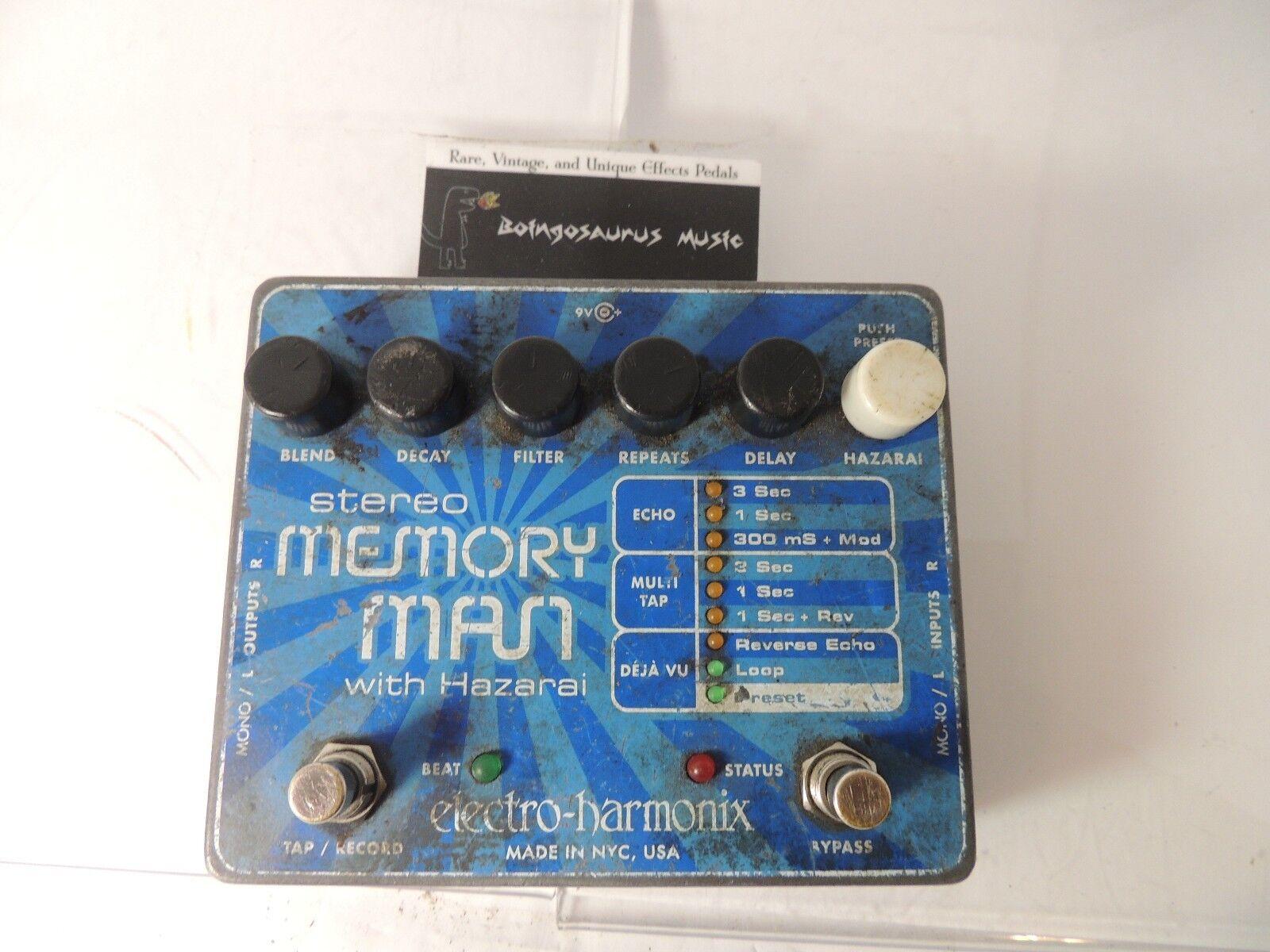 Electro Harmonix Stereo Memory Man w Hazarai Delay Echo Effects Pedal EHX