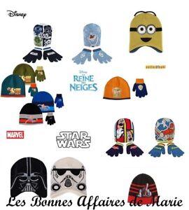 DISNEY-MINONS-Bonnet-et-gants-Mickey-Planes-Star-Wars-Spiderman-Neuf