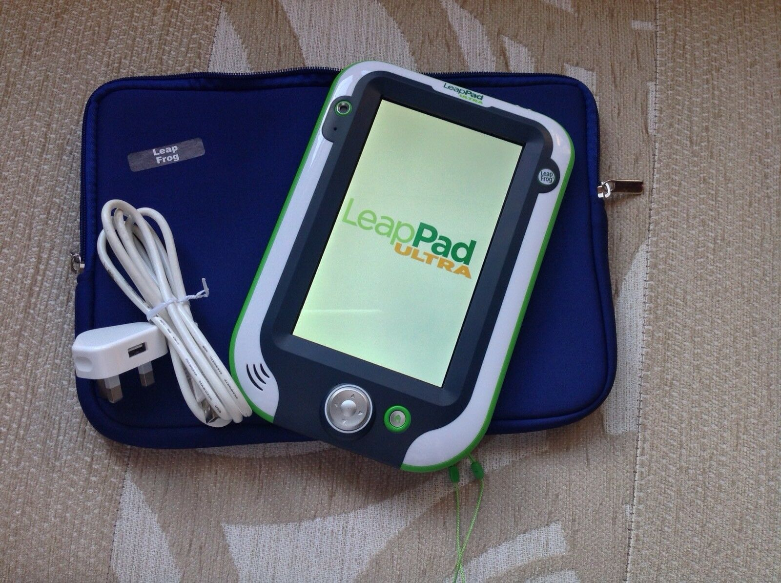 Leapfrog Leappad Ultra Green  New Storage Bag bluee Or Pink charger Cable..