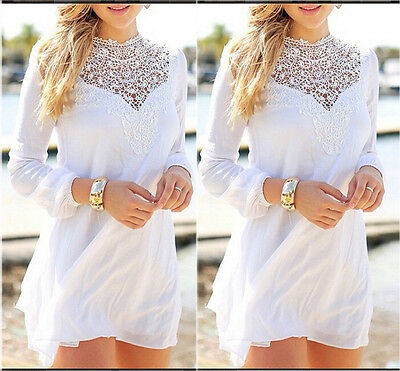 New Fashion Womens Long Sleeve Casual Chiffon Top Blouse Lace Crochet Shirt