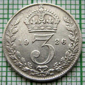 GREAT-BRITAIN-GEORGE-V-1926-THREEPENCE-3-PENCE-SILVER-SCARCER-DATE