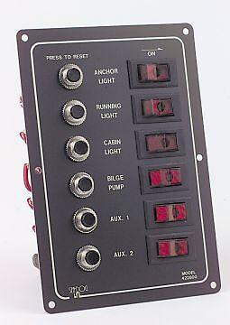 Sea Dog 6 Gang Illuminated Circuit Breaker Switch Panel 12 volts Yachts & Boats