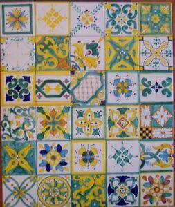 Lotto 30 mattonella piastrella 10x10 ceramica vietri tile for Maioliche da cucina