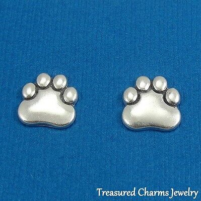.925 Sterling Silver PAW PRINT Post Stud EARRINGS