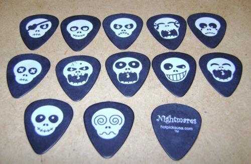Lot of 12 different HotPicks NIGHTMARES Skull Emoji faces Guitar Picks