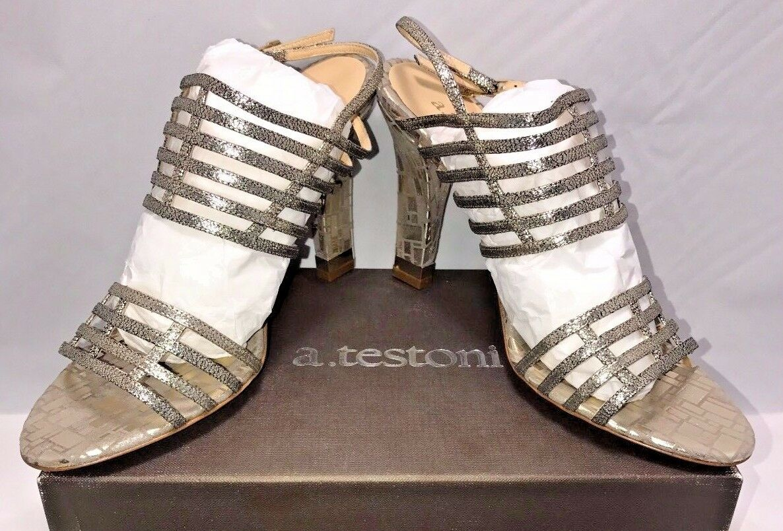 A.testoni damen Designer Größe 10.5 EUR 40.5 Italian Designer damen Glitter Gold Heels New  655 e9d9c5