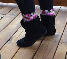 boot cuff pink camo coyboy riding camouflage crochet leg warmers topper sock