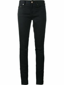 330f0353af YSL Yves Saint Laurent Women's Distressed Black Denim Skinny Jeans ...