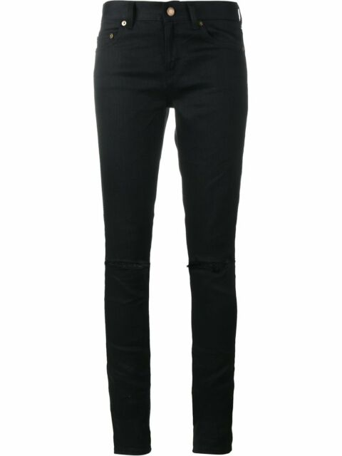 091888e7340 YSL Yves Saint Laurent Women's Distressed Black Denim Skinny Jeans 398184  30 33