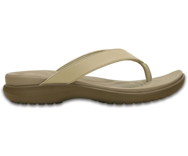 5ea7dc31e75b Womens Crocs Capri V Flip Comfort Walking Leather Slip on Toe Post ...