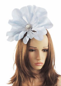 Image is loading Baby-Blue-Fascinator-Hat-for-Weddings-Ascot-Proms- 92c069f3a52