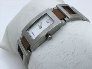 Fossil-Women-Watch-Silver-Tone-Metal-Brown-Genuine-Leather-Band-Water-Resistant