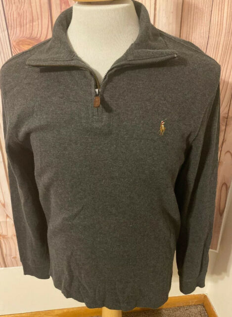 Polo Ralph Lauren Mens Shawl Neck Estate Rib Sweater Grey, Medium