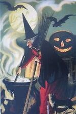 vintage art HALLOWEEN print, Black Cat, Bat,  WITCH FULL MOON Jack o Lantern