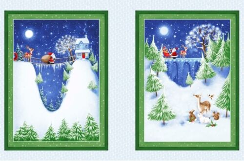 13 CHRISTMAS VILLAGE NIGHT SKY SANTA SNOW STARS FULL MOON DEER FABRIC PANEL NO