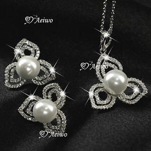 18K-GF-WHITE-GOLD-CLEAR-CRYSTAL-PEARL-NECKLACE-STUD-EARRINGS-FASHION-SET