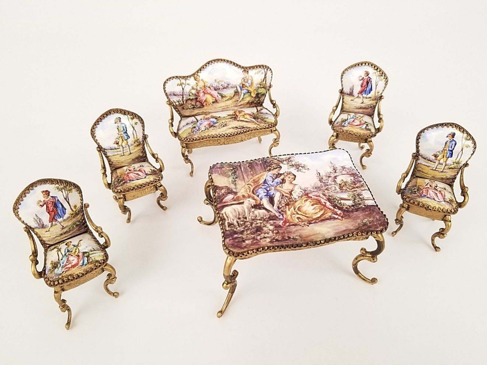 Antique Austrian Viennese Bronze Enamel Miniature Furniture Doll Set 6 Pc Royal