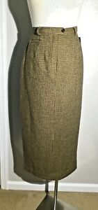 NWT Lauren Ralph Lauren Petite Brown/Beige Wool Full Length Skirt Size 6P $158