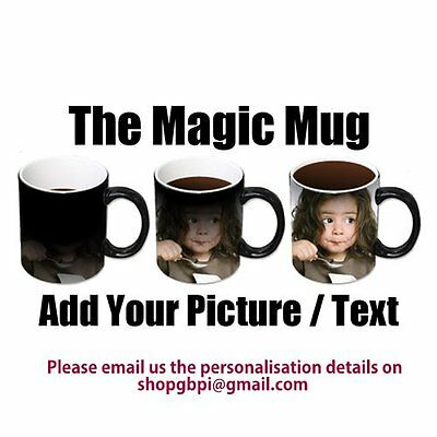 Personalised Colour Changing Coffee Mug Cup YOUR PHOTO & TEXT Magic Mug WOW