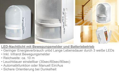 Bewegungsmelder Automatik mit Batteriebetrieb Trango TG11-039 LED Nachtlicht m