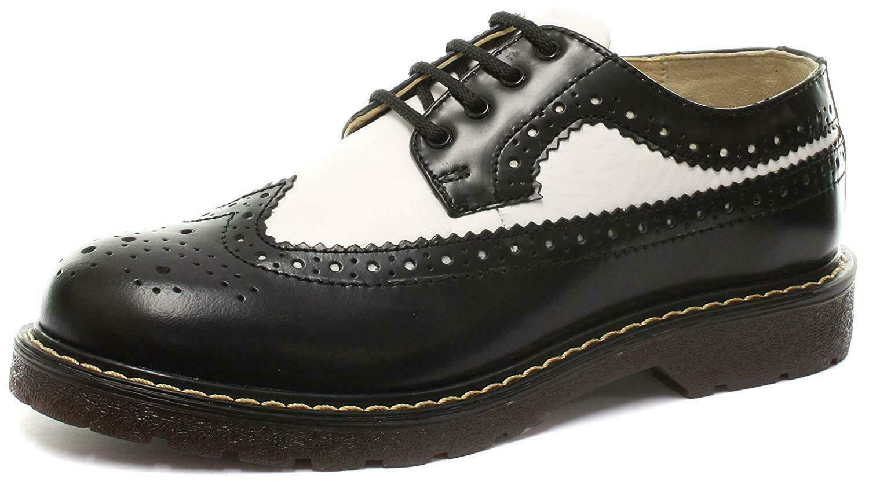 Grinders bertrum Noir Blanc Hommes Femme American richelieu lacets chaussures en cuir