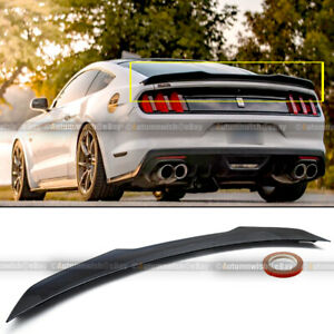 Trunk Spoiler Fits 2015-2019 Ford Mustang 2-Door Coupe High Kick V Style Unpainted Black ABS Rear Spoiler Boot Deck Lid Roof Wing Replacement by IKON MOTORSPORTS 2016 2017